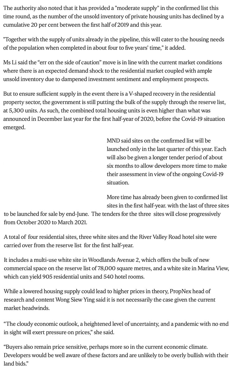 Govt cuts private housing supply from confirmed land sale sites due to Covid-19 fallout Part 2